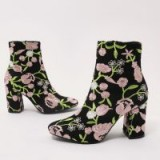 PUBLIC DESIRE CLEO EMBROIDERED FLORAL ANKLE BOOTS IN PINK