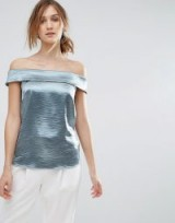 Coast Metallic Top – shiny green bardot tops – evening fashion