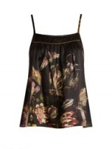 MORPHO + LUNA Coco silk-satin cami top ~ luxurious floral and insect print tops