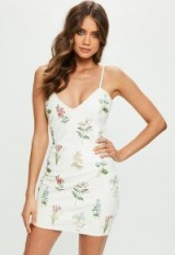 missguided cream faux leather embroidered plunge bodycon dress – strappy floral party dresses
