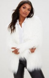 pretty little thing CREAM SHAGGY FAUX FUR JACKET / fluffy jackets