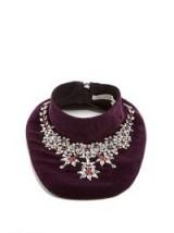 MARY KATRANTZOU Crystal-embellished velvet bib necklace – purple bib necklaces – occasion accessories