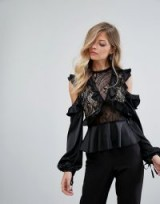 Dark Pink Exaggerated Ruffle High Neck Blouse ~ black lace cut out blouses ~ ruffled tops