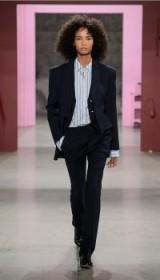 DELMONT PINSTRIPE JAMIE BOOTCUT PANTS ~ navy trouser suits ~ smart suit trousers