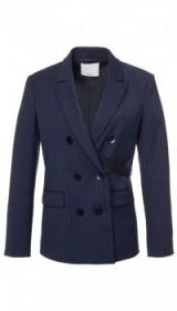 TIBI DELMONT PINSTRIPE STEWARD BLAZER ~ navy-blue suits ~ smart suit blazers ~ tailored jackets