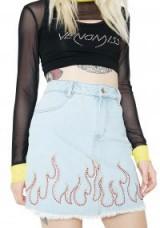 Honey Punch WILDFIRE FRAYED DENIM SKIRT   light blue studded skirts