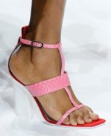 Strappy pink, white and red block heel sandals at Lanvin Spring 2018