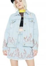 Honey Punch WILDFIRE DISTRESSED DENIM JACKET   stud embellished jackets