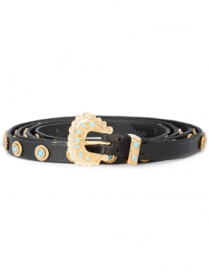 DODO BAR OR embellished Lucille belt / turquoise and gold black leather belts / luxury accessories