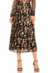 Dodo Bar Or JENN SKIRT – black and gold floral pleated midi skirts