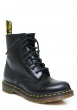 Kourtney Kardashian black combat boots, Dr. Martens 1460 8 EYE BOOTS, out in Paris, 26 September 2017. Celebrity footwear | casual star style fashion