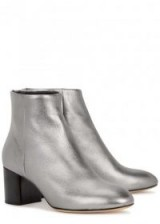 RAG & BONE Drea gunmetal leather ankle boots ~ metallic ankle boots