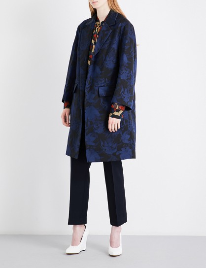 DRIES VAN NOTEN Rodel jacquard coat / navy blue floral coats