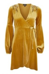 Topshop Embroidered Velvet Wrap Dress | ochre-yellow dresses | affordable luxe