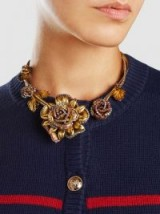 ‎ERICKSON BEAMON‎ Crystal Flower Necklace ~ statement jewellery ~ floral necklaces