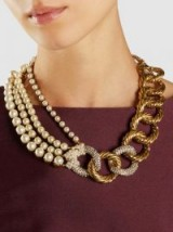 ERICKSON BEAMON‎ Gold-Plated Faux Pearl Necklace ~ statement jewellery