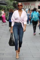 Blush wrap top, high waist skinny cropped jeans with a pair of strappy heels and you have the perfect casual glam look…of course it helps if you're gorgeous too!