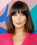Bella Hadid and her smooth bob with fringe ~ mode; hairstyles ~ celebrity hair and beauty