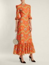 THE VAMPIRE'S WIFE Festival Liberty floral-print cotton dress – orange printed dresses