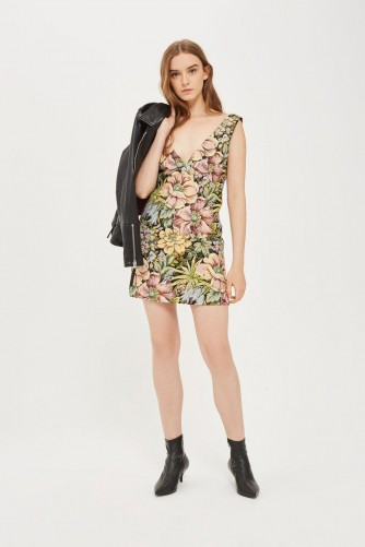 Topshop Floral Jacquard Pini Dress