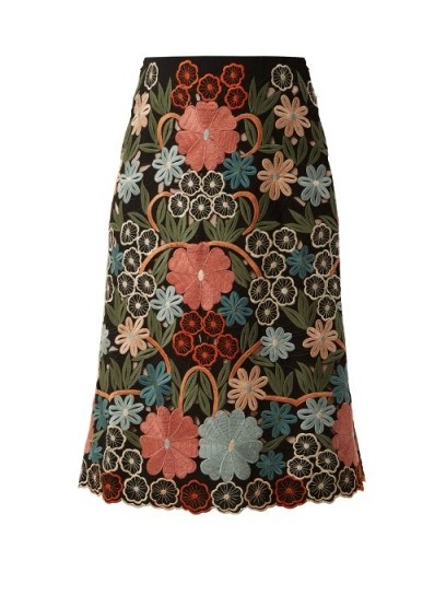 REDVALENTINO Floral macramé-embroidered midi skirt - flipped