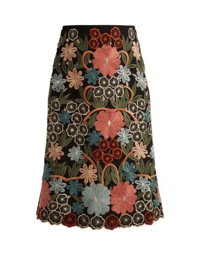 REDVALENTINO Floral macramé-embroidered midi skirt