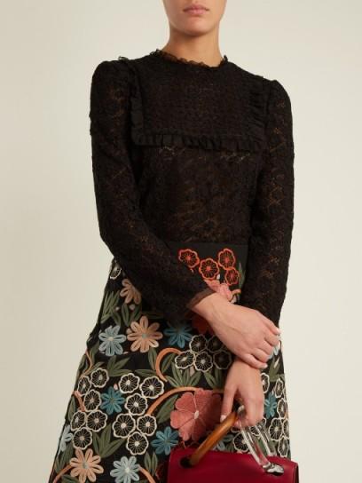 REDVALENTINO Floral macramé-lace cotton blouse