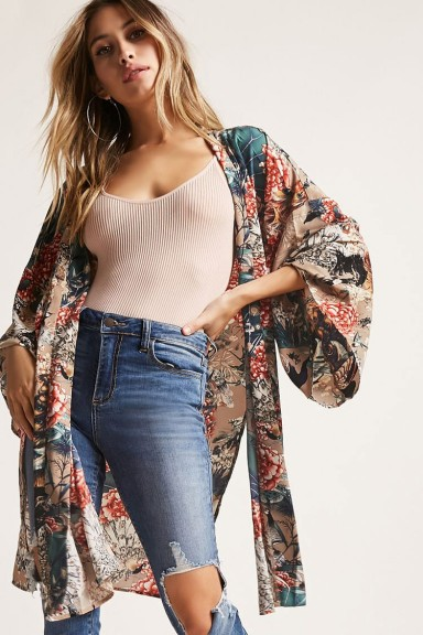 FOREVER 21 Floral Open-Front Kimono
