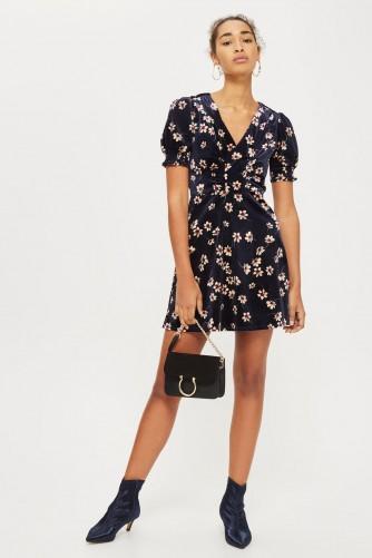 TOPSHOP Floral Print Velvet Dress / vintage style floral dresses