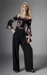 KAREN MILLEN FLORAL WIDE-LEG JUMPSUIT / off shoulder jumpsuits / occasion wear