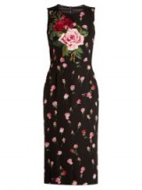 DOLCE & GABBANA Floral-print stretch-silk charmeuse midi dress ~ beautiful Italian dresses ~ pink rose print