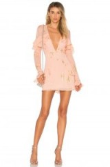 For Love & Lemons GILDED STAR MINI DRESS – pink and rose-gold occasion dresses – plunge front party fashion