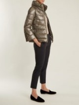 HERNO Funnel-neck quilted down jacket ~ metallic-silver padded jackets