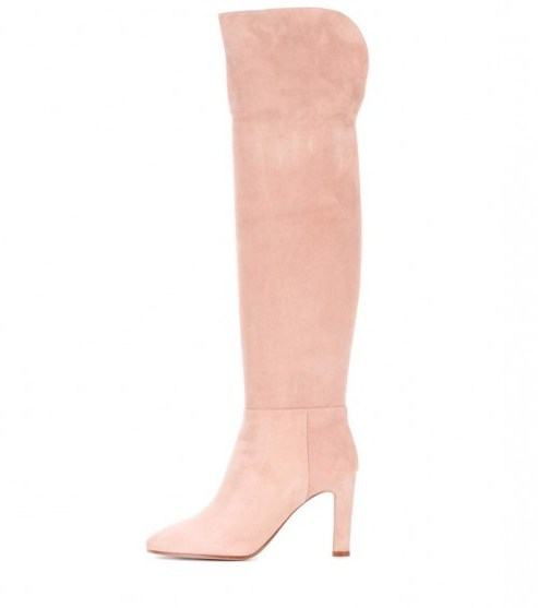 GABRIELA HEARST Linda suede over-the-knee boots / long light pink boots - flipped