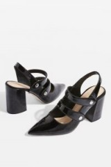 TOPSHOP GABRIELLA Black Cross Strap Slingback Heel Shoes – black patent Mary Jane slingbacks – pointy toe, double strap Mary Janes