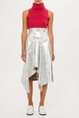 Topshop ~ Godet Leather Skirt by Boutique | silver asymmetric skirts