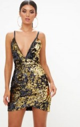 pretty little thing GOLD WRAP FRONT SEQUIN BODYCON DRESS / shiny sequined dresses