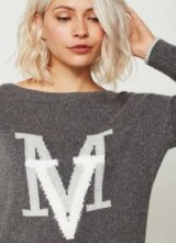 MINT VELVET GRANITE MV GRAPHIC BOXY KNIT ~ slogan jumpers