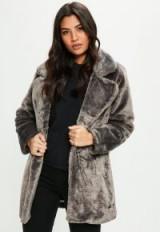 missguided grey longline faux fur coat