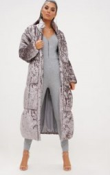PRETTYLITTLETHING GREY VELVET LONGLINE PUFFER COAT – luxe winter coats
