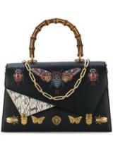 GUCCI Ottilia leather top handle bag / embellished handbags