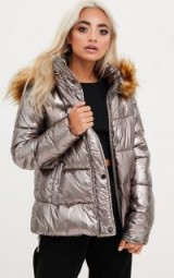 pretty little thing GUNMETAL FOIL PUFFER JACKET WITH FAUX FUR HOOD / metallic jackets