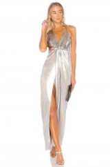 Halston Heritage HALTER NECK ASYMMETRICAL DRESS ~ metallic evening dresses