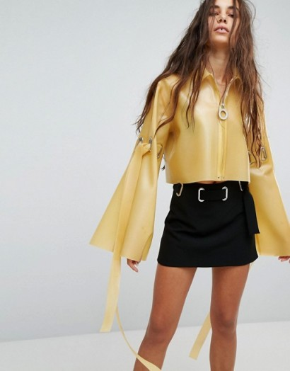 Hanger Latex Jacket With Wide Sleeves / yellow shiny jackets