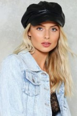 Nast Gal Highway to Hell Newsboy Cap ~ black baker boy caps ~ casual vegan leather peak hats