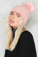 Nasty Gal Hot Headed Pom Pom Beanie – pink beanies – fluffy knitted winter hats