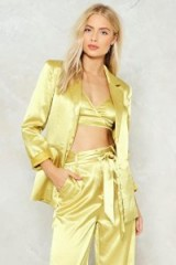Nasty Gal Independent Women Satin Blazer ~ gold blazers ~ silky jackets