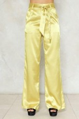 Nasty Gal Independent Women Satin Wide-Leg Pants ~ silky gold trousers