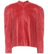 ISABEL MARANT Riley cotton corduroy top – red puff sleeved tops