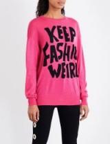 JEREMY SCOTT Keep Fashion Weird wool jumper / hot pink slogan jumpers